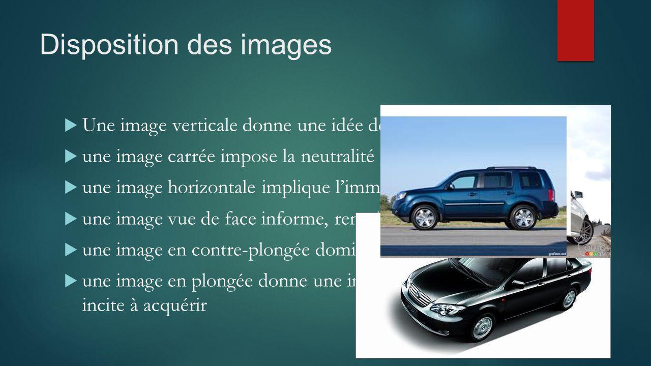 Disposition des images  Une image verticale donne une idée de dynamisme, de mobilité ;  une image carrée impose la neutralité ;  une image horizont