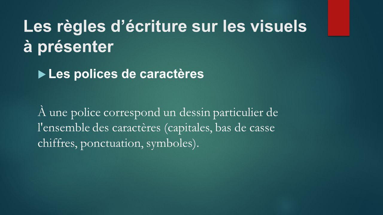 Les règles d'écriture sur les visuels à présenter  Les polices de caractères À une police correspond un dessin particulier de l ensemble des caractères (capitales, bas de casse chiffres, ponctuation, symboles).