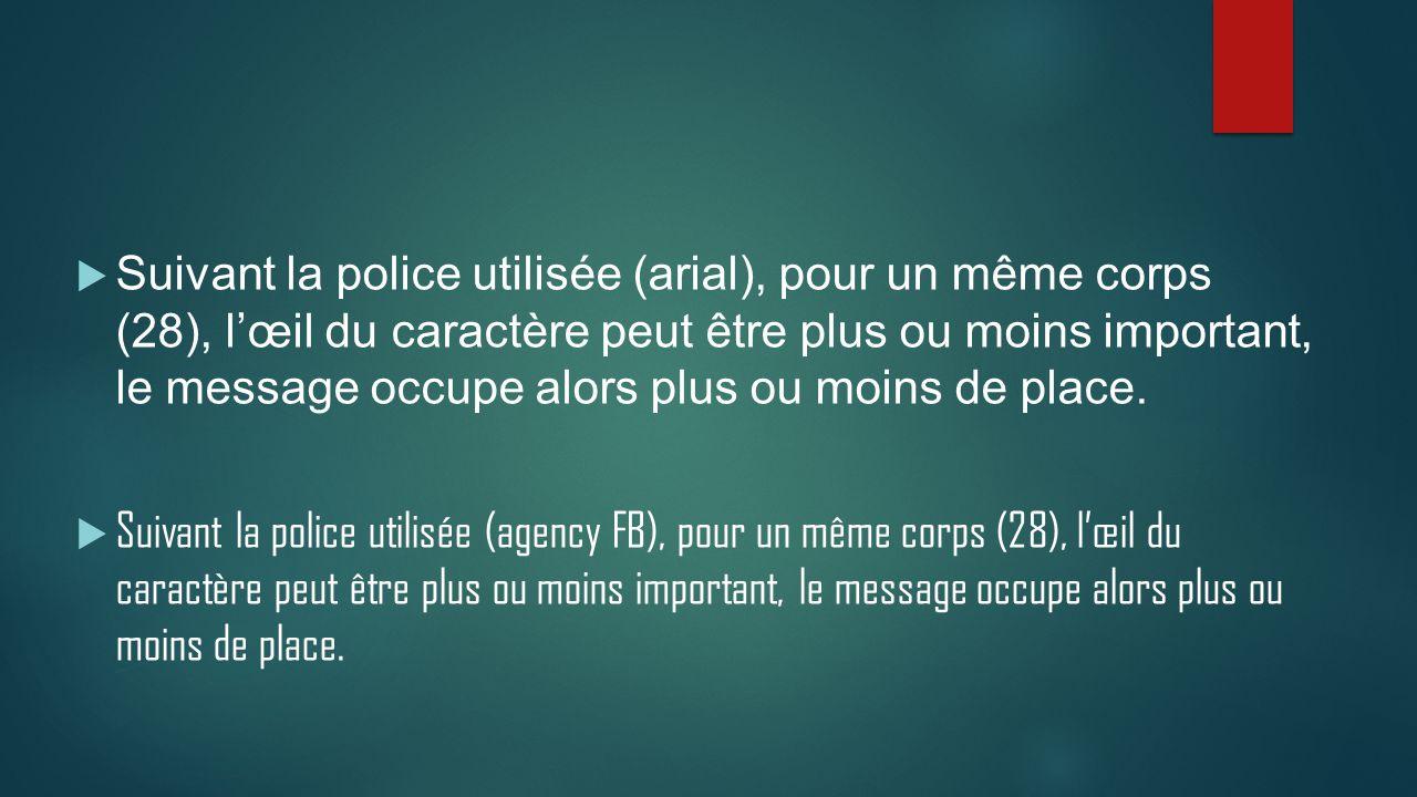  Suivant la police utilisée (arial), pour un même corps (28), l'œil du caractère peut être plus ou moins important, le message occupe alors plus ou m