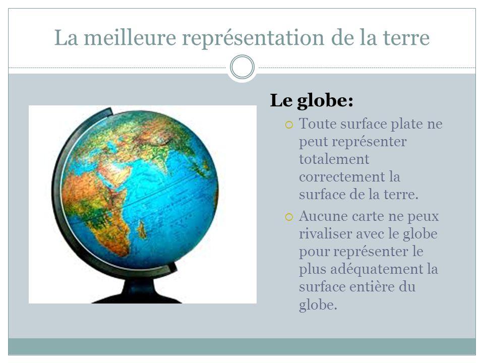 La meilleure représentation de la terre Le globe:  Toute surface plate ne peut représenter totalement correctement la surface de la terre.  Aucune c