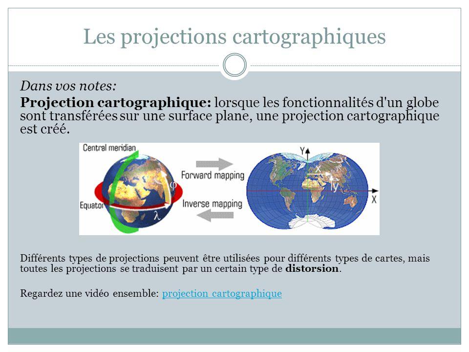 Les projections cartographiques Dans vos notes: Projection cartographique: lorsque les fonctionnalités d'un globe sont transférées sur une surface pla