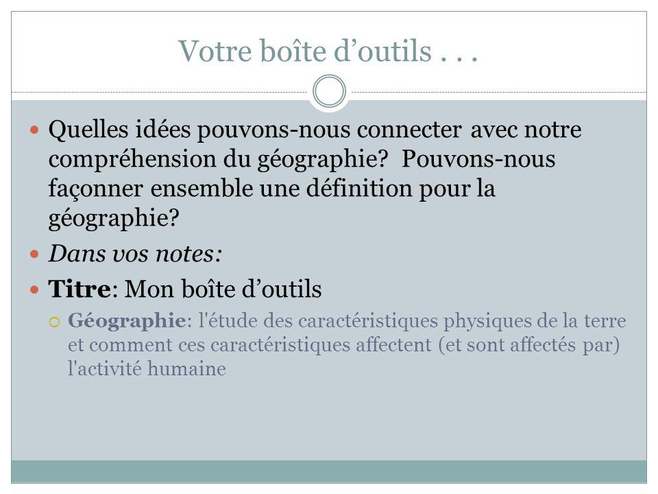 Les grands thèmes de la géographie Dans vos notes:5 Thèmes de la géographie 1.
