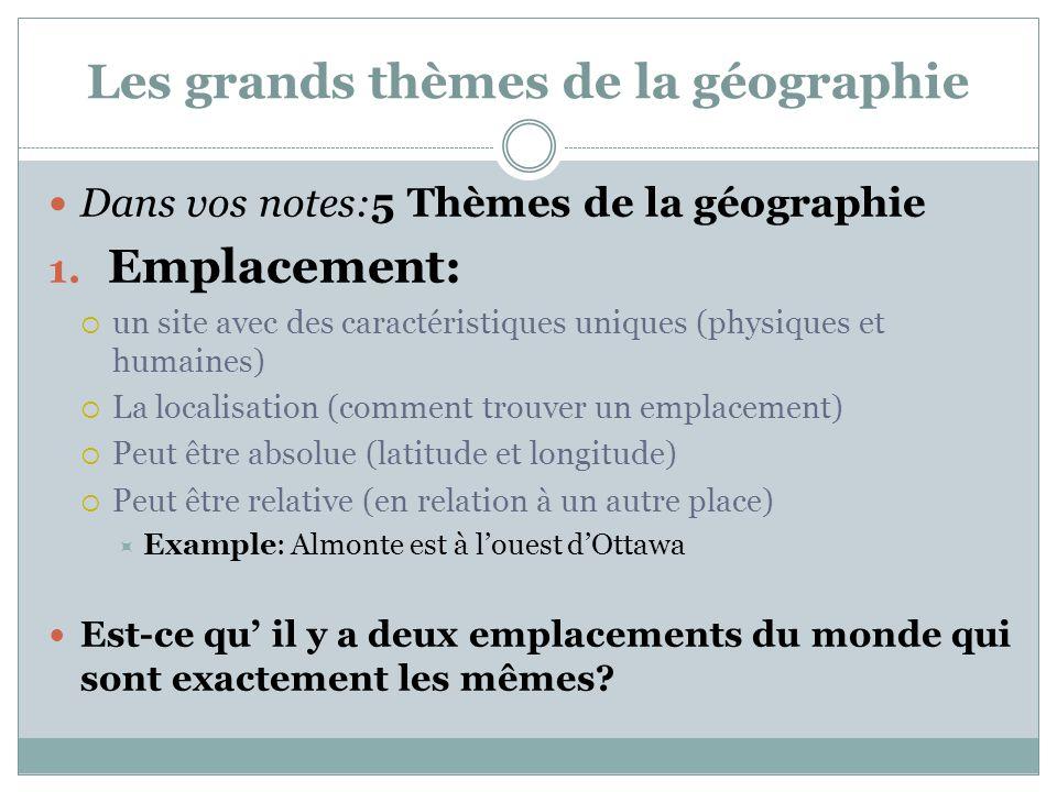 Les grands thèmes de la géographie Dans vos notes:5 Thèmes de la géographie 1. Emplacement:  un site avec des caractéristiques uniques (physiques et
