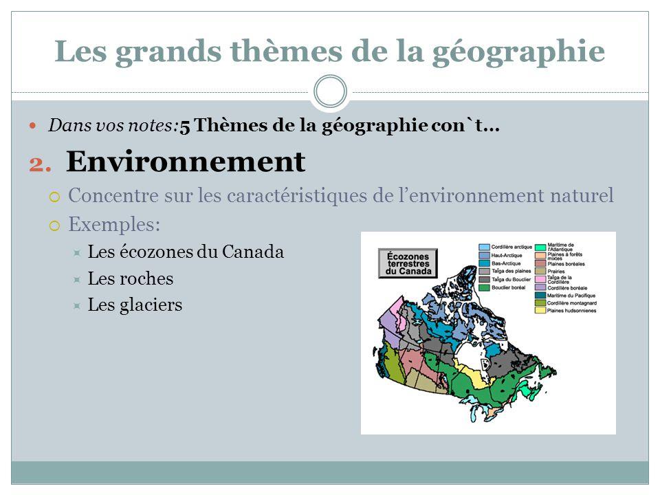 Les grands thèmes de la géographie Dans vos notes:5 Thèmes de la géographie con`t… 2. Environnement  Concentre sur les caractéristiques de l'environn