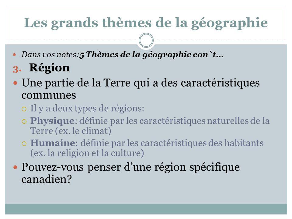 Les grands thèmes de la géographie Dans vos notes:5 Thèmes de la géographie con`t… 3. Région Une partie de la Terre qui a des caractéristiques commune