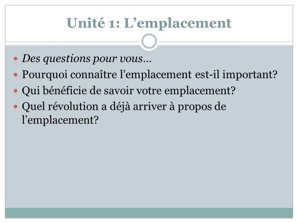 Unité 1: L'emplacement Des questions pour vous… Pourquoi connaître l'emplacement est-il important? Qui bénéficie de savoir votre emplacement? Quel rév