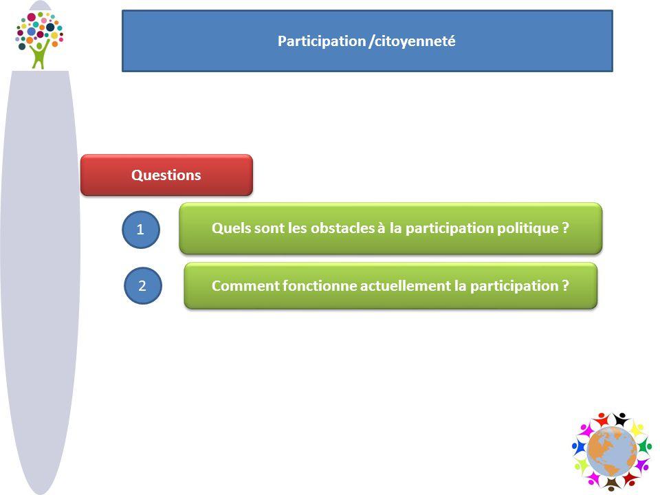 Questions Quels sont les obstacles à la participation politique ? Comment fonctionne actuellement la participation ? Participation /citoyenneté 1 2