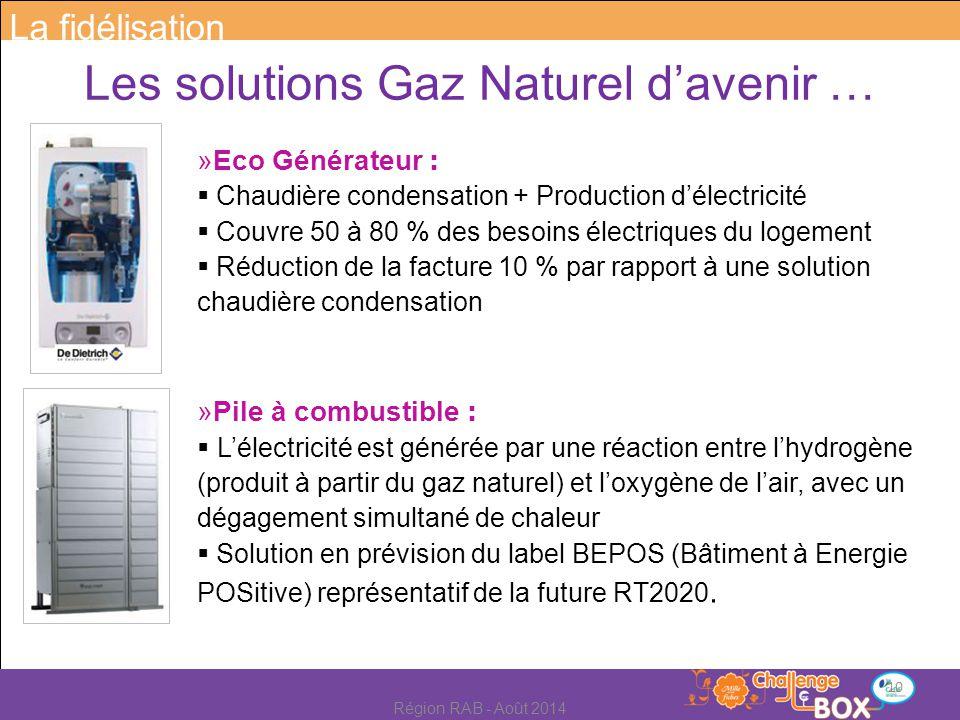 Les solutions Gaz Naturel d'avenir … »Eco Générateur :  Chaudière condensation + Production d'électricité  Couvre 50 à 80 % des besoins électriques