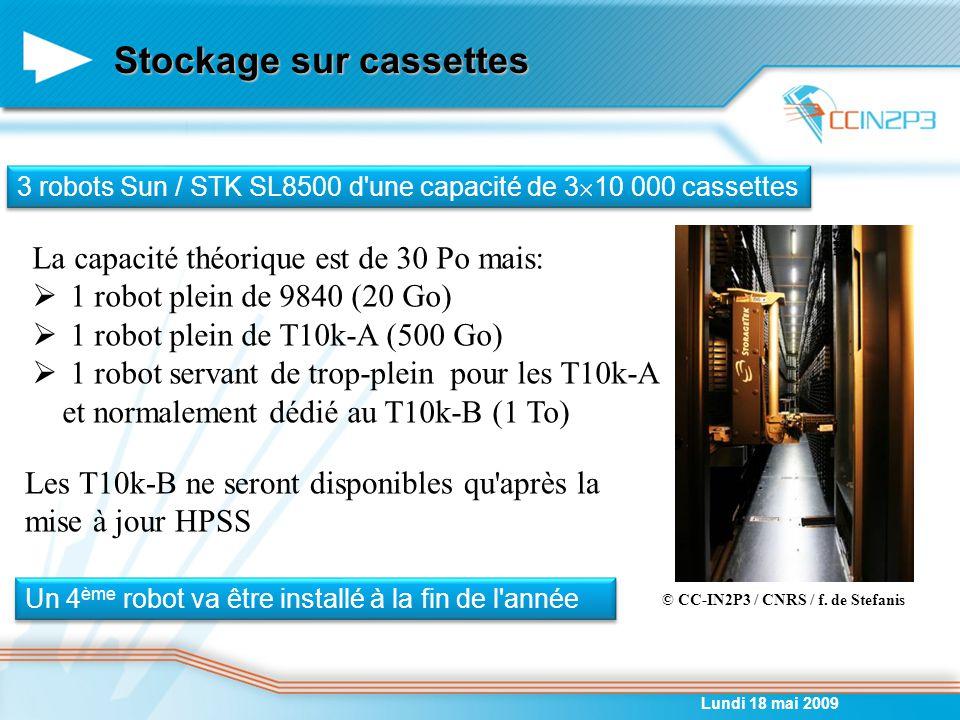 Stockage sur cassettes Lundi 18 mai 2009 3 robots Sun / STK SL8500 d une capacité de 3  10 000 cassettes © CC-IN2P3 / CNRS / f.