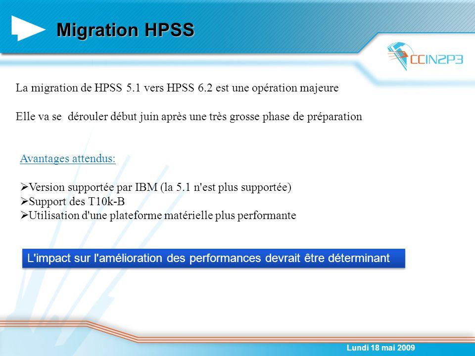 Migration HPSS Lundi 18 mai 2009 La migration de HPSS 5.1 vers HPSS 6.2 est une opération majeure Elle va se dérouler début juin après une très grosse phase de préparation Avantages attendus:  Version supportée par IBM (la 5.1 n est plus supportée)  Support des T10k-B  Utilisation d une plateforme matérielle plus performante L impact sur l amélioration des performances devrait être déterminant