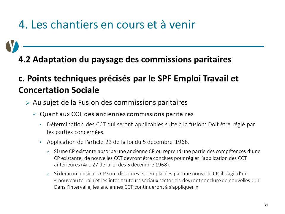 14 4.Les chantiers en cours et à venir 4.2 Adaptation du paysage des commissions paritaires c.