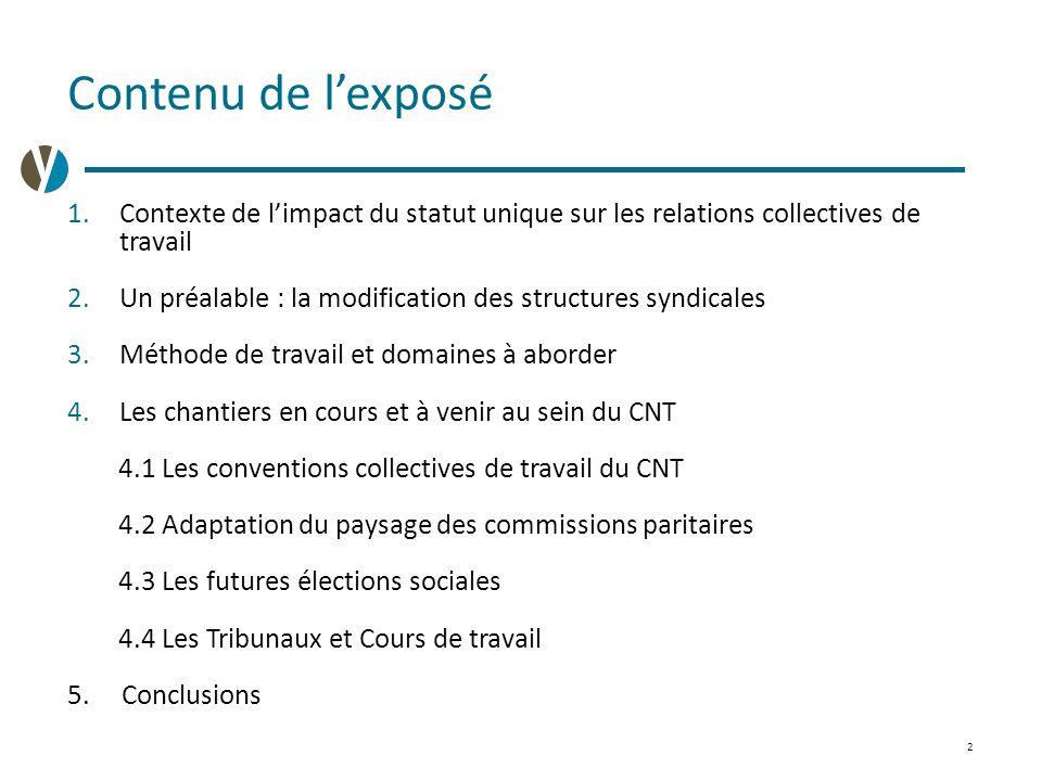 2 Contenu de l'exposé 1.Contexte de l'impact du statut unique sur les relations collectives de travail 2.Un préalable : la modification des structures