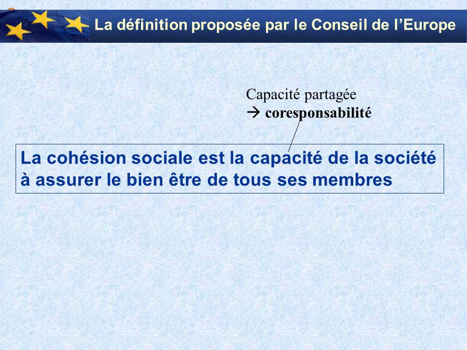 La cohésion sociale est la capacité de la société à assurer le bien être de tous ses membres Capacité partagée  coresponsabilité La définition propos