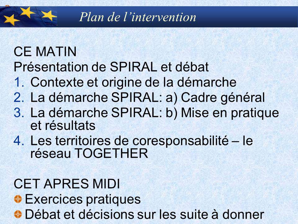 CE MATIN Présentation de SPIRAL et débat 1.Contexte et origine de la démarche 2.La démarche SPIRAL: a) Cadre général 3.La démarche SPIRAL: b) Mise en
