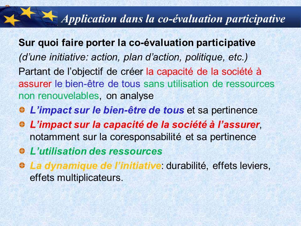 Application dans la co-évaluation participative Sur quoi faire porter la co-évaluation participative (d'une initiative: action, plan d'action, politiq