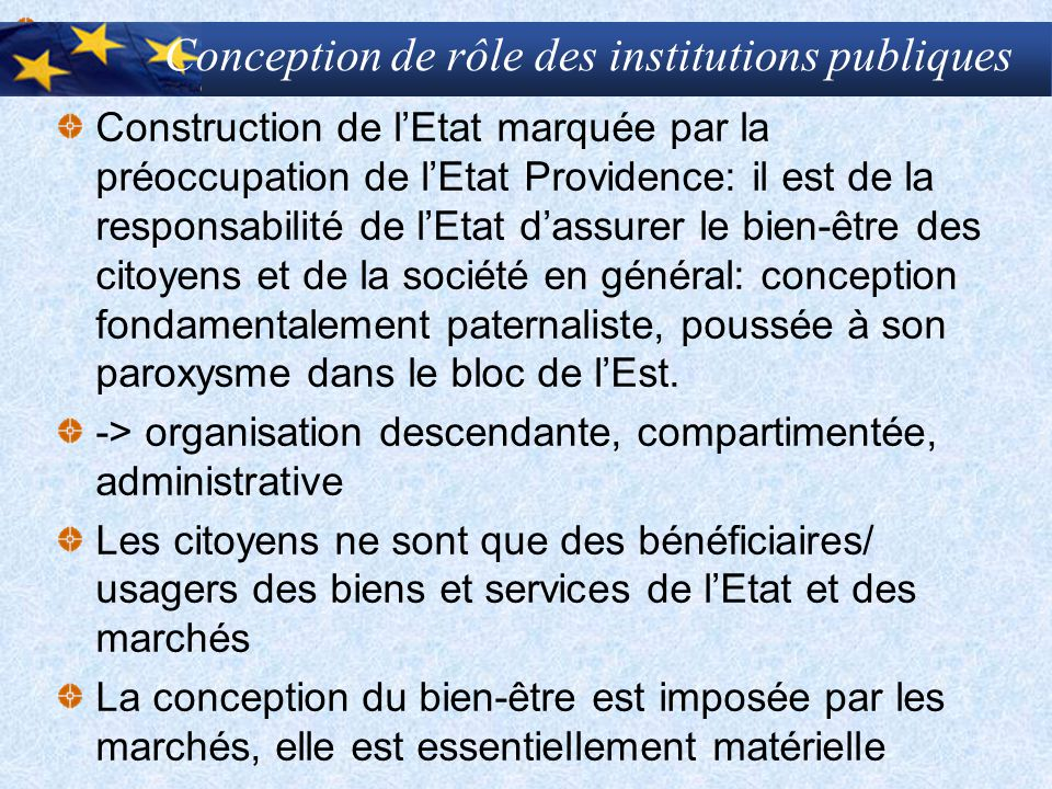 Conception de rôle des institutions publiques Construction de l'Etat marquée par la préoccupation de l'Etat Providence: il est de la responsabilité de