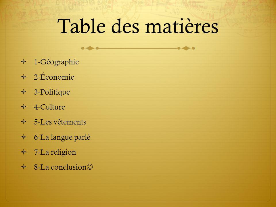 Table des matières  1-Géographie  2-Économie  3-Politique  4-Culture  5-Les vêtements  6-La langue parlé  7-La religion  8-La conclusion