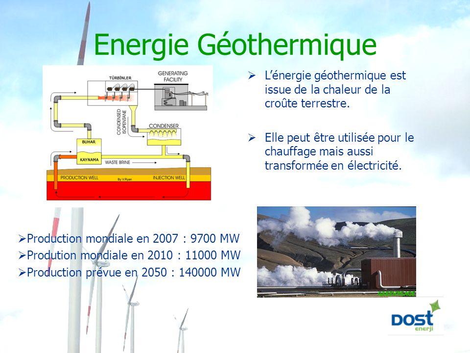 Energie Géothermique  L'énergie géothermique est issue de la chaleur de la croûte terrestre.  Elle peut être utilisée pour le chauffage mais aussi t