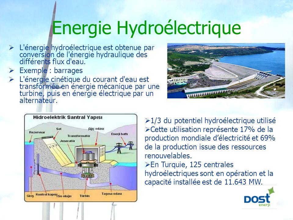 Energie Hydroélectrique  L'énergie hydroélectrique est obtenue par conversion de l'énergie hydraulique des différents flux d'eau.  Exemple : barrage