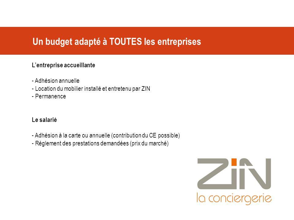 Un budget adapté à TOUTES les entreprises L'entreprise accueillante - Adhésion annuelle - Location du mobilier installé et entretenu par ZIN - Permane