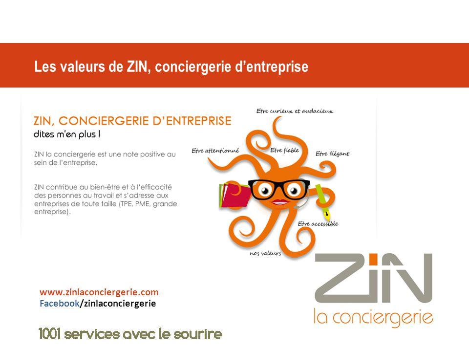 Les valeurs de ZIN, conciergerie d'entreprise www.zinlaconciergerie.com Facebook/zinlaconciergerie