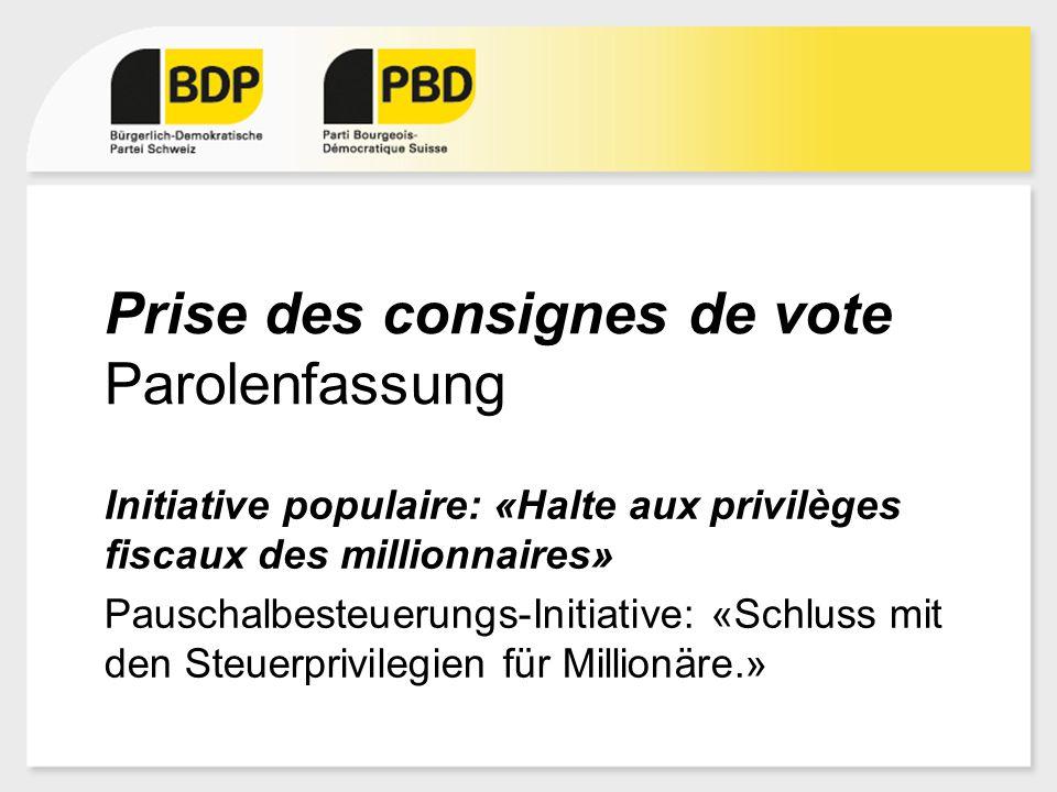Prise des consignes de vote Parolenfassung Initiative populaire: «Halte aux privilèges fiscaux des millionnaires» Pauschalbesteuerungs-Initiative: «Sc
