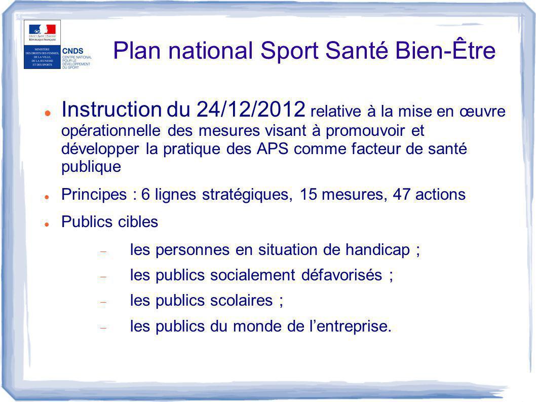 Plan national Sport Santé Bien-Être Instruction du 24/12/2012 relative à la mise en œuvre opérationnelle des mesures visant à promouvoir et développer