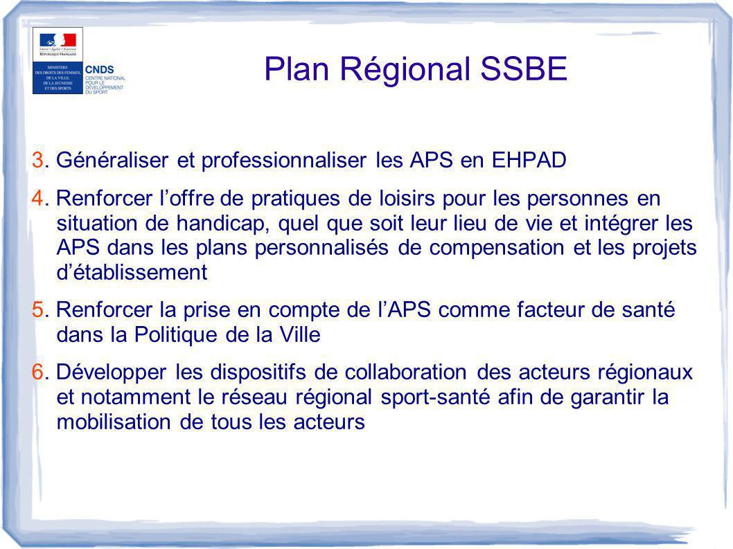 Plan Régional SSBE 3. Généraliser et professionnaliser les APS en EHPAD 4. Renforcer l'offre de pratiques de loisirs pour les personnes en situation d