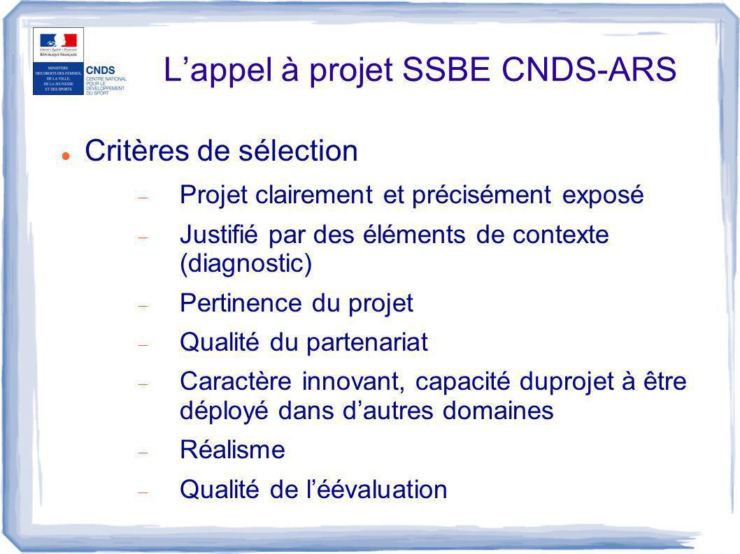L'appel à projet SSBE CNDS-ARS Critères de sélection  Projet clairement et précisément exposé  Justifié par des éléments de contexte (diagnostic) 