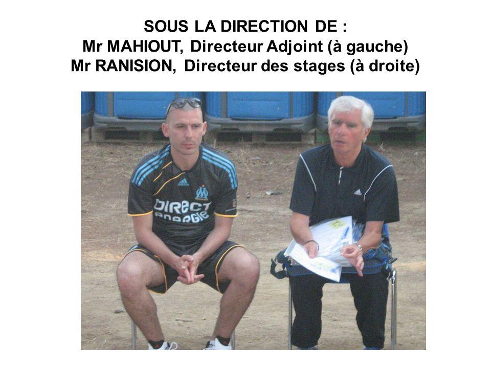 SOUS LA DIRECTION DE : Mr MAHIOUT, Directeur Adjoint (à gauche) Mr RANISION, Directeur des stages (à droite)