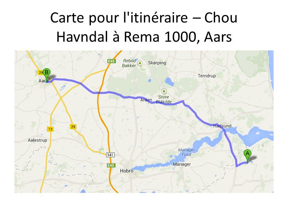 Carte pour l itinéraire – Chou Havndal à Rema 1000, Aars