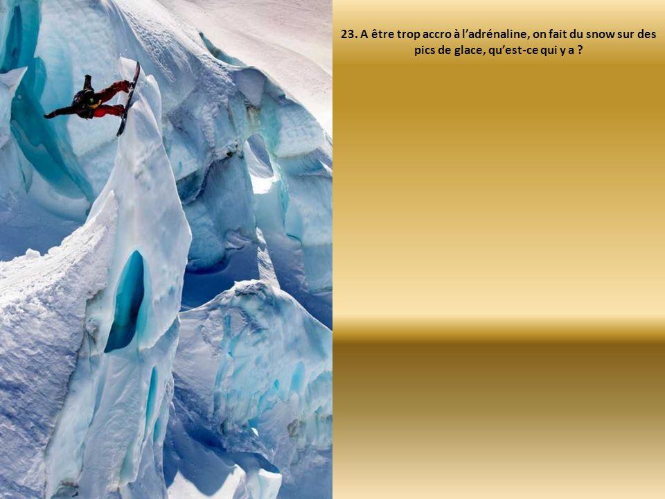 23. A être trop accro à l'adrénaline, on fait du snow sur des pics de glace, qu'est-ce qui y a ?