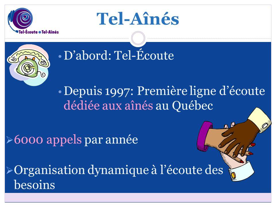 D'abord: Tel-Écoute Depuis 1997: Première ligne d'écoute dédiée aux aînés au Québec  6000 appels par année  Organisation dynamique à l'écoute des besoins Tel-Aînés