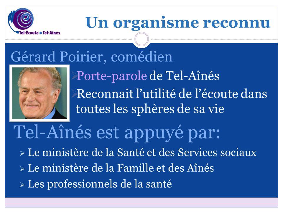 Un organisme reconnu Gérard Poirier, comédien  Porte-parole de Tel-Aînés  Reconnait l'utilité de l'écoute dans toutes les sphères de sa vie Tel-Aîné