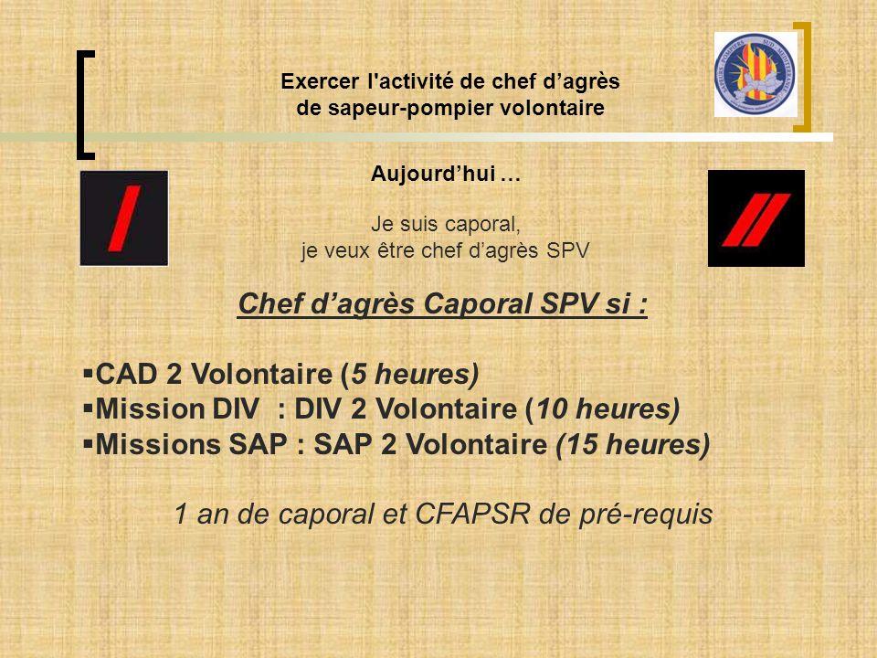 Exercer l'activité de chef d'agrès de sapeur-pompier volontaire Aujourd'hui … Je suis caporal, je veux être chef d'agrès SPV Chef d'agrès Caporal SPV
