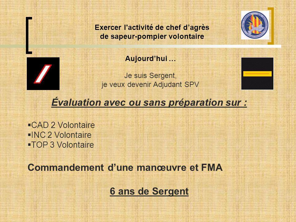 Aujourd'hui … Exercer l'activité de chef d'agrès de sapeur-pompier volontaire Je suis Sergent, je veux devenir Adjudant SPV Évaluation avec ou sans pr