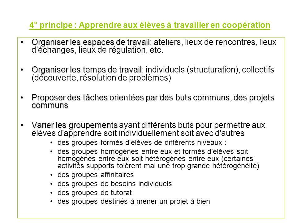 4° principe : Apprendre aux élèves à travailler en coopération Organiser les espaces de travailOrganiser les espaces de travail: ateliers, lieux de rencontres, lieux d'échanges, lieux de régulation, etc.