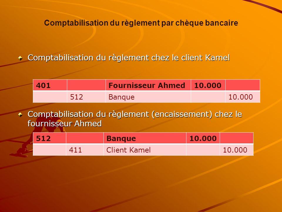 Comptabilisation du règlement par chèque bancaire Comptabilisation du règlement chez le client Kamel Comptabilisation du règlement (encaissement) chez