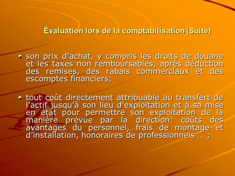 Évaluation lors de la comptabilisation (Suite) son prix d'achat, y compris les droits de douane et les taxes non remboursables, après déduction des re