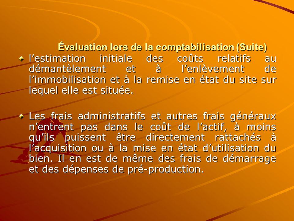 Évaluation lors de la comptabilisation (Suite) l'estimation initiale des coûts relatifs au démantèlement et à l'enlèvement de l'immobilisation et à la