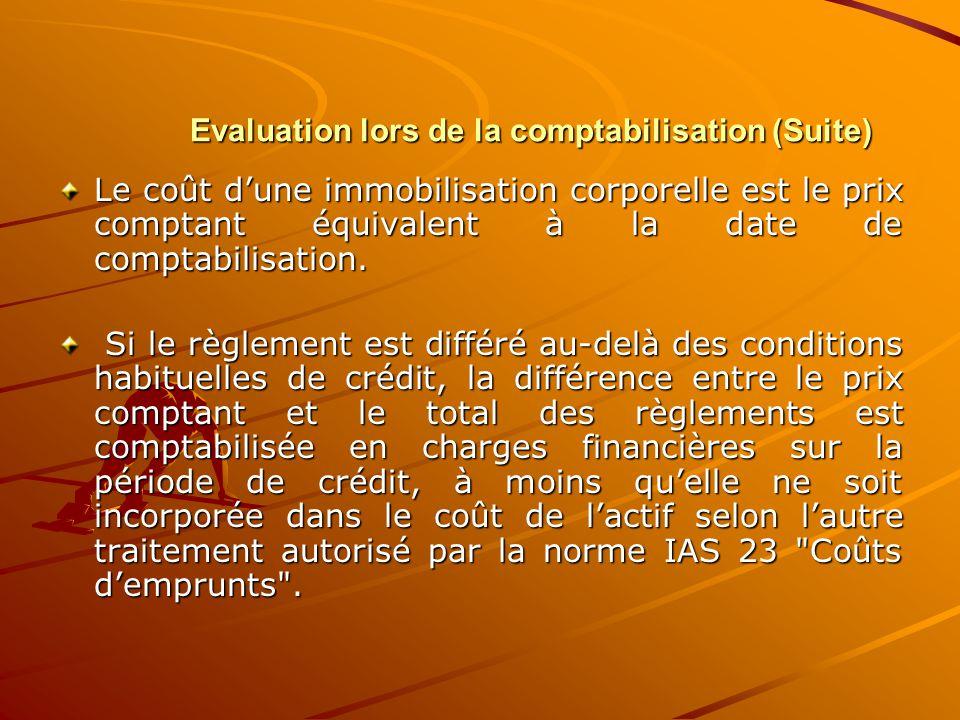 Evaluation lors de la comptabilisation (Suite) Le coût d'une immobilisation corporelle est le prix comptant équivalent à la date de comptabilisation.