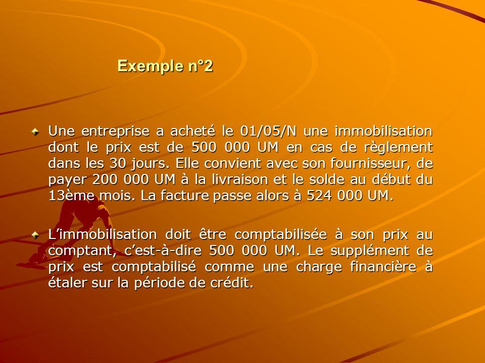 Exemple n°2 Une entreprise a acheté le 01/05/N une immobilisation dont le prix est de 500 000 UM en cas de règlement dans les 30 jours. Elle convient
