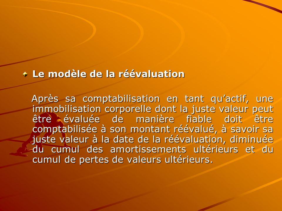 Le modèle de la réévaluation Après sa comptabilisation en tant qu'actif, une immobilisation corporelle dont la juste valeur peut être évaluée de maniè