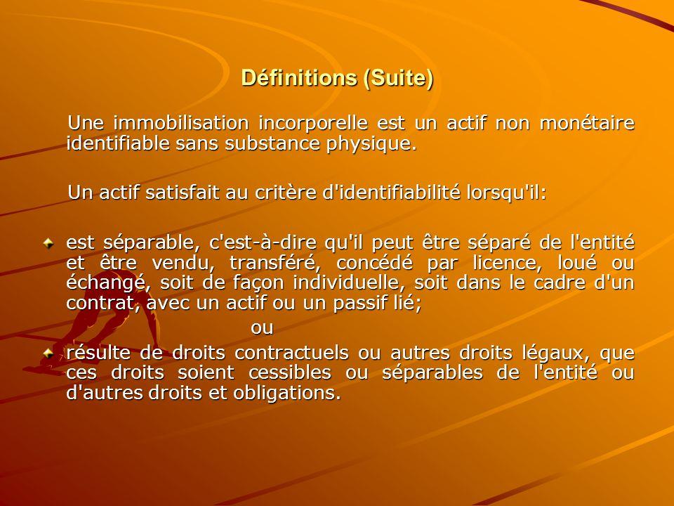 Définitions (Suite) Une immobilisation incorporelle est un actif non monétaire identifiable sans substance physique. Une immobilisation incorporelle e