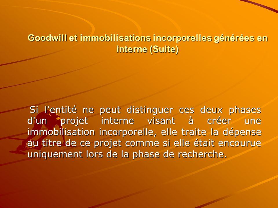 Goodwill et immobilisations incorporelles générées en interne (Suite) Si l'entité ne peut distinguer ces deux phases d'un projet interne visant à crée