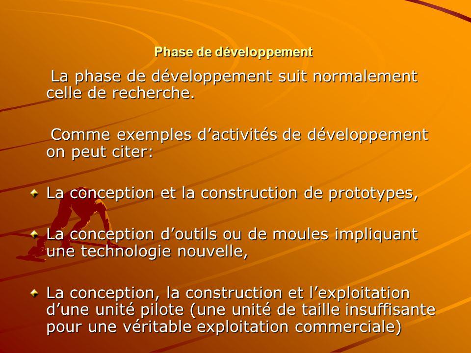 Phase de développement La phase de développement suit normalement celle de recherche. La phase de développement suit normalement celle de recherche. C