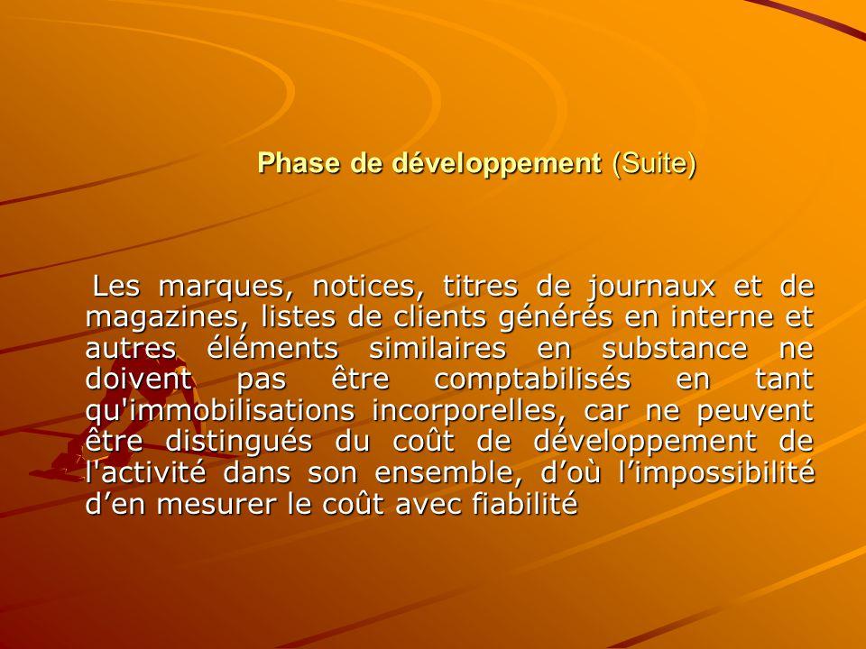 Phase de développement (Suite) Les marques, notices, titres de journaux et de magazines, listes de clients générés en interne et autres éléments simil