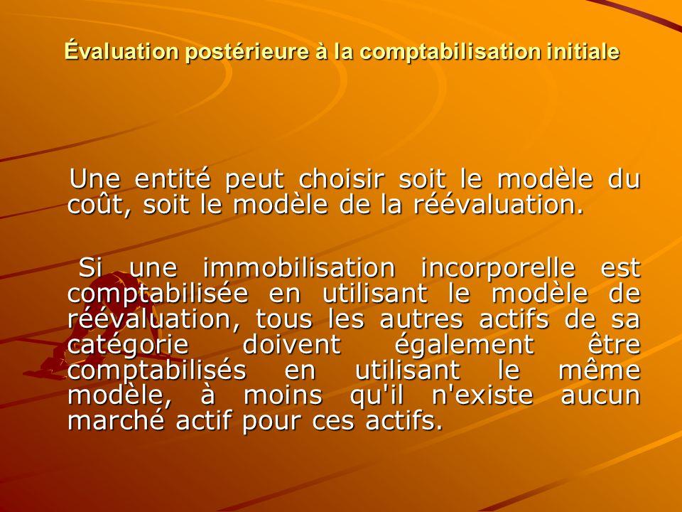 Évaluation postérieure à la comptabilisation initiale Une entité peut choisir soit le modèle du coût, soit le modèle de la réévaluation. Une entité pe