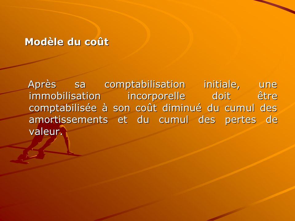 Modèle du coût Modèle du coût Après sa comptabilisation initiale, une immobilisation incorporelle doit être comptabilisée à son coût diminué du cumul