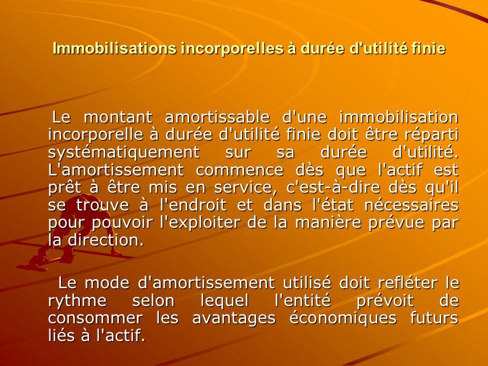 Immobilisations incorporelles à durée d'utilité finie Le montant amortissable d'une immobilisation incorporelle à durée d'utilité finie doit être répa